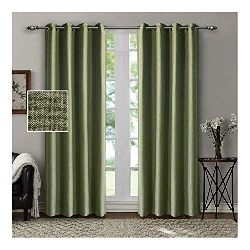 (SINGINGLORY Green Room Darkening Curtains, 2 Panels Linen Textured Thermal Insulated Blackout Grommet Curtains with 2 Tiebacks for Bedroom and Living Room (52 x 84 Inch,)