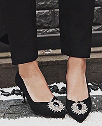 Idifu Strass Classico Da Donna Con Tacco Medio Gattino Slip On Pumps Shoes Nero