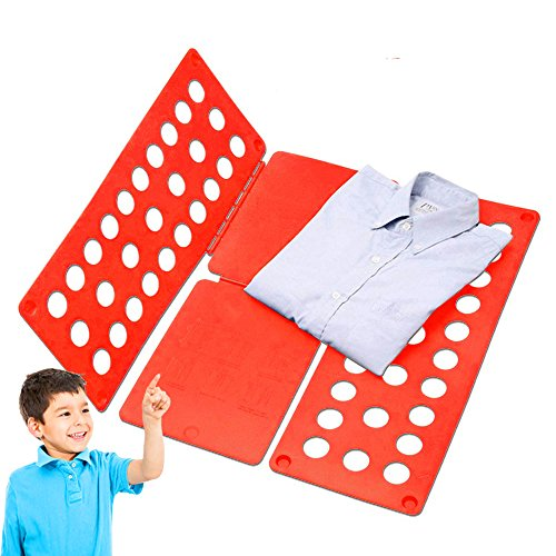 W&G T Shirt Clothes Folder for Children Plastic Adjustable Shirt Folding Board Laundry (Red) (Laundry Clothes Folder)