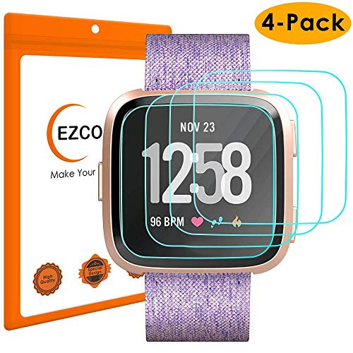 EZCO 4-Pack Screen Protector Compatible with Fitbit Versa & Versa Lite, Waterproof Tempered Glass Screen Protector Cover Saver Compatible Versa Smart Watch Scratch Resist Anti-Bubble