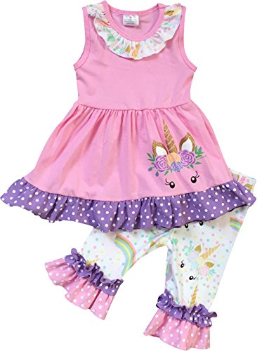 Infant Girls 2 Pieces Pant Set Unicorn Dress Ruffle Outfit Clothing Set Pink 2T XS (Clothing Ensemble Collection)