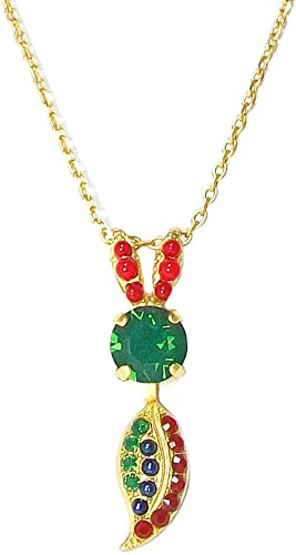 5143-1325 Mariana Poppy Yellow Gold Plated Swarovski Crystal Leaf Pendant Necklace and Earrings Set
