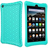 LTROP Tablet Case for All-New Fire HD 8 2017 - Light Weight Shock Proof Soft Silicone Kids Friendly Case for All-New Fire HD 8 Tablet (7th Generation, 2017 Release),Turquoise