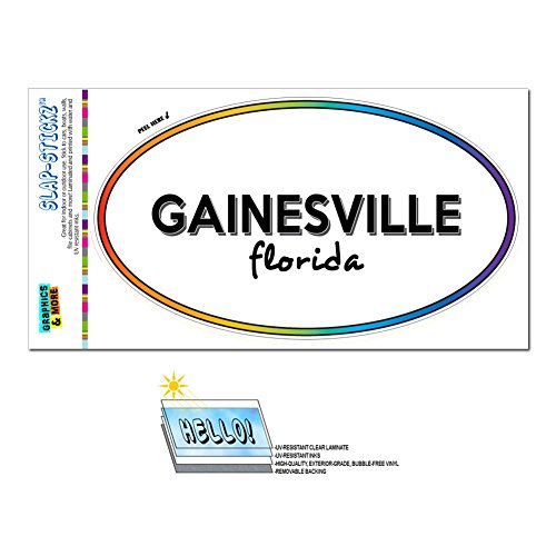 Graphics and More Rainbow Euro Oval Window Laminated Sticker Florida FL City State Dun - Kis - Gainesville -