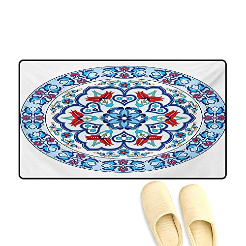 - Door Mats,Ottoman Turkish Style Art with Tulip Period Ceramic Floral Elements European Print,Customize Bath Mat with Non Slip Backing,Multicolor,24
