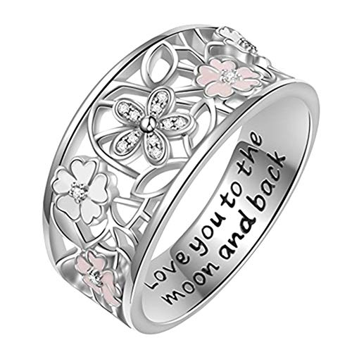 Gsdviyh36 Love You to The Moon and Back Hollow Flower Rhinestone Inlaid Bride Wedding Ring Valentine's Day Charming Jewelry Gift Clothing Accessories