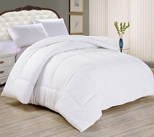 Night Guard - Goose Down Alternative Comforter - Ultra Soft, Plush Blanket - Comfortable Bedspreads Used as a Throw, Duvet Insert or Coverlet Size 86 x 88-inch (Queen, White) - Bamboo Queen Quilted Coverlet