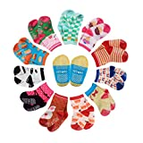 CIEHER 12 Pairs Baby Socks with Grips Infant Socks 6-12 Months Baby Socks Walking Baby Gripper Socks for Boys and Girls,12 Colors
