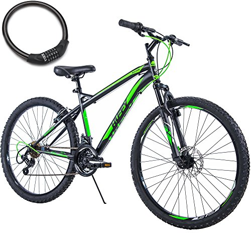 26 Inch Huffy 18 Speed Steel Frame Adult Mountain Bike for Men, Black/Green with Cable Lock