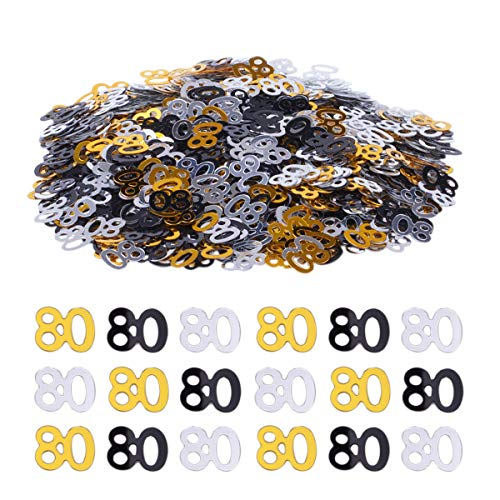 Haley Party 80th Birthday Decorations 80th Anniversary Decorations 80 Party Confetti Metallic Foil Number Confetti for Birthday Party Anniversary Table Confetti Decorations (Gold Silver Black Mix, 1oz)