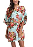 Laurel Snow Floral Satin Kimono Robes for Women Short Bridesmaid and Bride Robe for Wedding Party,Ligth Cyan S