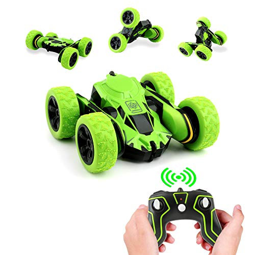 Rodzon Remote RC Car,Control Truck with 2.4Ghz Controlled Toy Car for Kids & Adults,Double Sided 360° Flips. (No Battery Included) Green