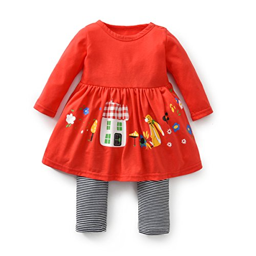 FERENYI Baby Girls Clothes Suit Cartoon Girl Long-Sleeved Dress with Pants Sets (17-24 Months, Red)