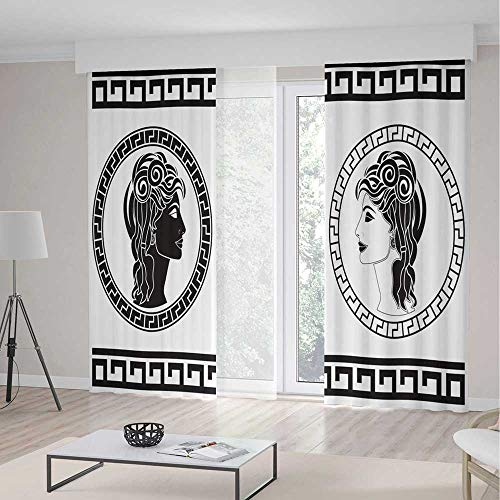 ALUONI Blackout Curtains for Bedroom,Toga Party,for Bedroom Living Dining Room Kids Youth Room,Roman Aristocrat Woman Profiles Circular Classical Frames Hairstyle Beauty2 Panel Set,55W X 82L -
