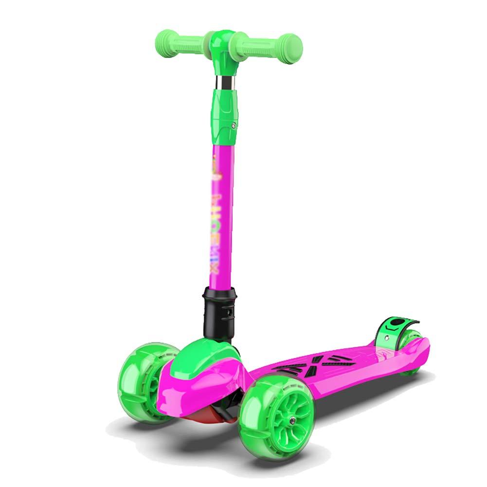 Scooter Deportivo para Niños, Niñas, Scooter De 3 Ruedas para Niños Pequeños, Kick Scooter para Niños De 3 A 14 Años, Rosa Rojo/Azul (Color : Azul): ...