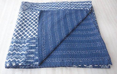 Indigo Blue Patch work Bedspread King Size Hand block Print Kantha Stitch, 90 X 108 Inches (Suzani Quilt)