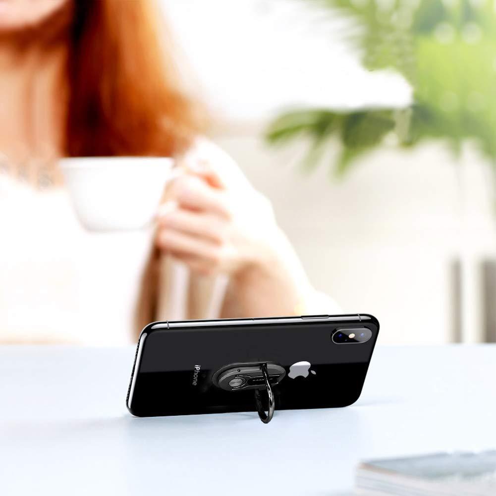 2Pack Phone Ring Holder Sanp 3-in-1 Universal Multipurpose Mobile Phone Bracket Holder Stand 360 Degree Rotation /& 90/°Flip Phone Ring Holder for Car Home Suitable for All Mobile Phones Black/&Silver