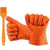 Kany Silicone Heat Resistant Gloves Grilling BBQ Gloves for Cooking, Baking, Smoking & Potholder Oven Mitts One Size Fits Most Bonus Silicone Brush(Orange)