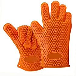 Silicone Bbq Gloves Waterproof Oven Mitts Heat Resistant Grilling Accessories Home Kitchen Tools For Cooking Baking Barbecue Potholder Orange