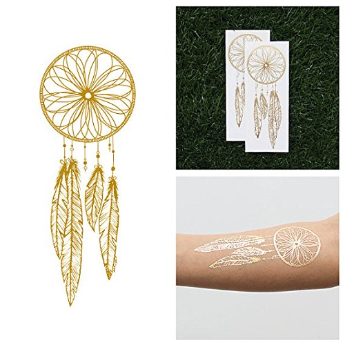 Tattify Gold Dreamcatcher Metallic Temporary Tattoo - Catch (Set of 2) - Other Styles Available - Fashionable Temporary Tattoos - Metallic Dreamcatcher