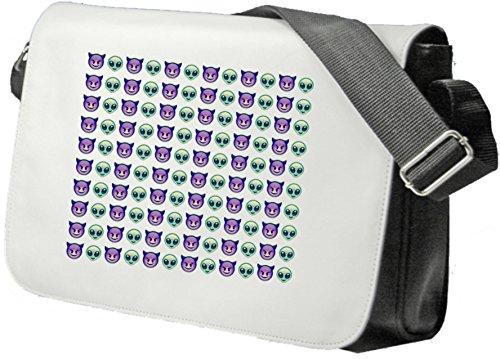 Schultertasche Grüner Alien und Lila Hörner Smiley in Reihe Schultasche, Sidebag, Handtasche, Sporttasche, Fitness, Rucksack, Emoji, Smiley