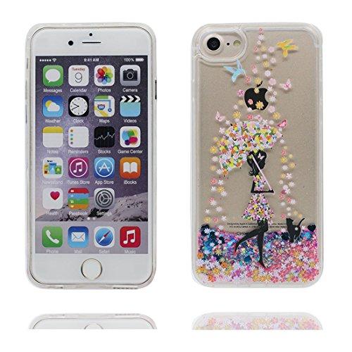 """iPhone 6 Plus Coque, iPhone 6s Plus étui Cover (5.5""""), Bling Glitter Coeur en forme Fluide Liquide Sparkles Sables Fille noire, iPhone 6 Plus Case (5.5""""), Shell anti- chocs"""