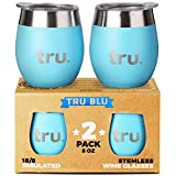 Outdoor Vacuum Insulated Wine Tumblers with Lids (Set of 2), Stainless Steel Glasses 8oz - Double Wall Stemless Metal Cup - Travel, Camping, Lightweight, Unbreakable, Portable, BPA Free