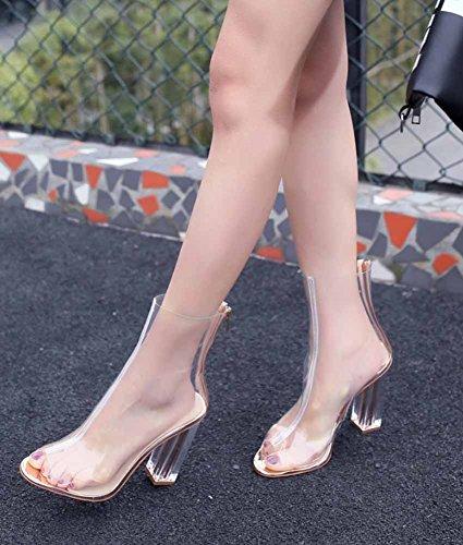 Estate Con Donne CM 10 Trasparenti Tacco Toe Nuovo Stivali Tacco PVC Cristallo Moda Con Stivali Sandali Clear Peep Alto Cerniera 7IqwfxrO7g