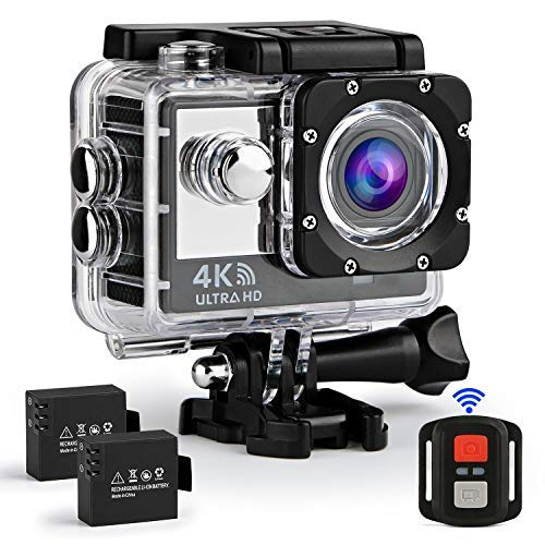 Ifecco 4K WiFi Sports Action Camera Ultra HD Waterproof DV Camcorder 16MP Underwater 30M Wide View Angle 170 ° with 2 1050mAh Batteries and Remote Control (Black)