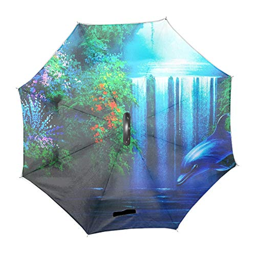 Waterfall Dolphin (Dolphins And Waterfalls Double Layer Inverted Umbrella for Car Reverse Upside Down C-Shaped Hands)