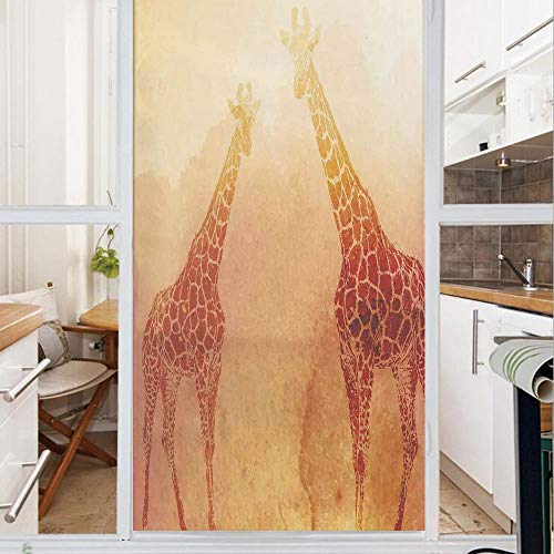 Decorative Window Film,No Glue Frosted Privacy Film,Stained Glass Door Film,Illustration of Tropic African Giraffes Tallest Neck Animal Mammal in Retro Vintage Print,for Home & Office,23.6In. by 59In