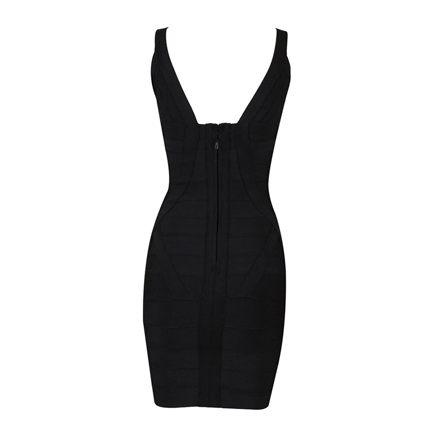 80Store Women Cocktail Party Prom Sexy Deep V Neck Slimming Bodycon Bandage Mini Dress Rayon Sleeveless