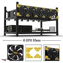 6 GPU Miner Case with 5 Fans Aluminum Stackable Mining Case Rig Open Air Frame For Ethereum(ETH)/ETC/ ZCash/Monero/BTC Excellent air convection design