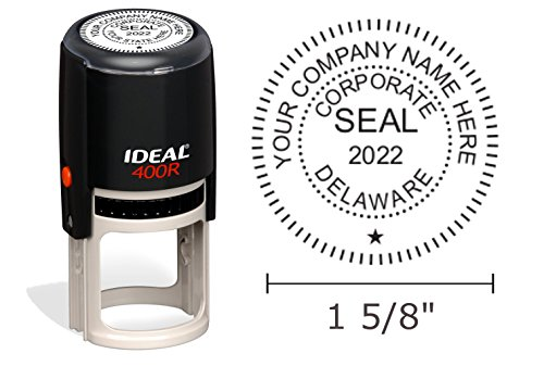 Delaware Corporate Seal Stamp, Ideal 400R, Round 1-5/8'' Impression, Black Body by Hubco