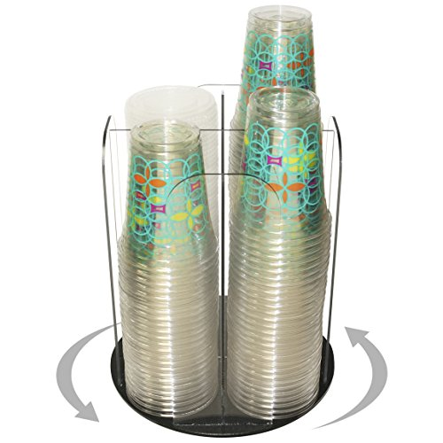 4 Clear Columns for Cup Dispensing and Lid Holder That Spins 12