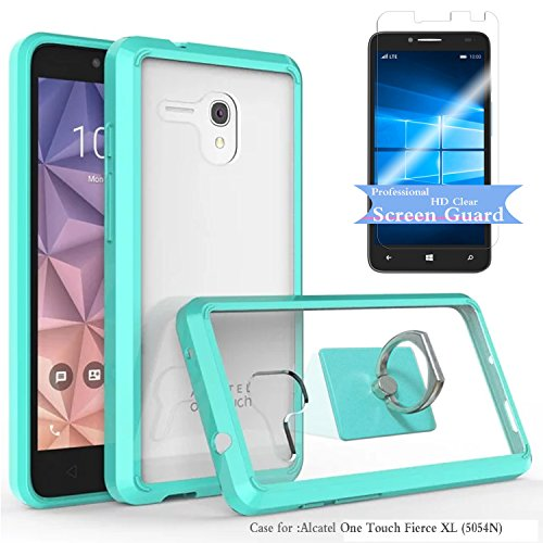 Alcatel One Touch Fierce XL Clear Case With HD Screen Protector+Phone Stand,Ymhxcy [Air Hybrid] Ultra Slim Shockproof Bumper Cover For Alcatel One Touch Fierce XL (5054N) CB2-Mint