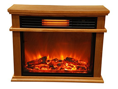 Lifesmart Easy Large Room Infrared Fireplace Includes Deluxe Mantle In Burnished Oak & Remote Infrared Heaters Lifesmart