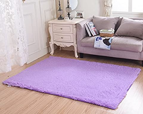 Living Room Bedroom Rugs, MBIGM Ultra Soft Modern Area Rugs Thick Shaggy Play Nursery Rug With Non-Slip Carpet Pad For Living Room Bedroom 4 Feet By 5.2 Feet, (Shaggy Purple Rug)