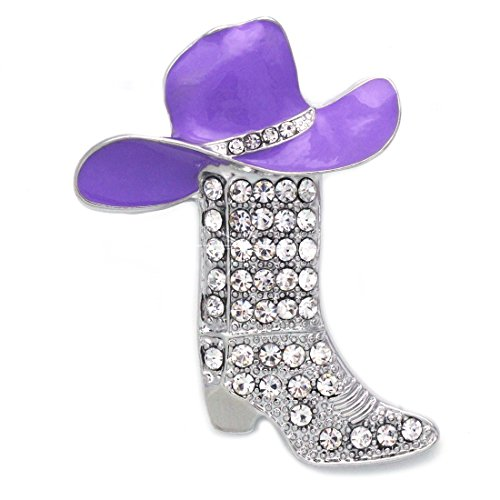 cocojewelry Cowboy Cowgirl Hat Boot Breast Cancer Awareness Pink Ribbon Brooch Pin (Lavender) ()