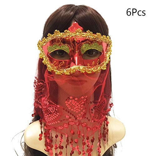 BLEVET 6PCS Sexy Lace Indian Masquerade Masks for Women Mystery Princess Boutique Party Costume Full Face Masks US-IE041 (6PCS Muti Color)