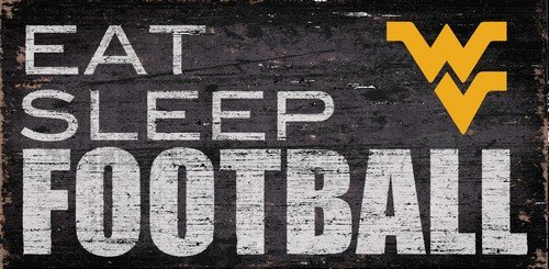 Fan Creations University of West Virginia Eat Sleep Football Sign, Multicolored
