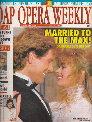 Nicholas Walker and Fiona Hutchison, One Life to Live, Peter Reckell, Brad Lockerman - July 17, 1990 Soap Opera Weekly