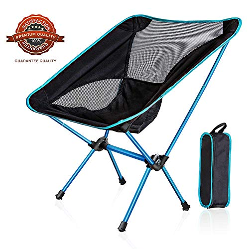 WDLHQC Portable Folding Camping Chair,Ultralight and Lightweight Compact Backpacking Chairs with Carry Bag for Camping,Beach,Fishing,Hiking & Outdoor Festivals(Light Blue)