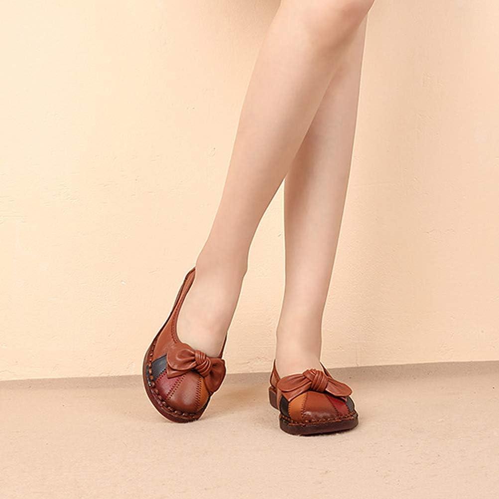 Mallimoda Donna Scarpe Mocassini di Pelle Basse Elegante Balletto Loafers Pantofole da Barca Stile 2 Marrone