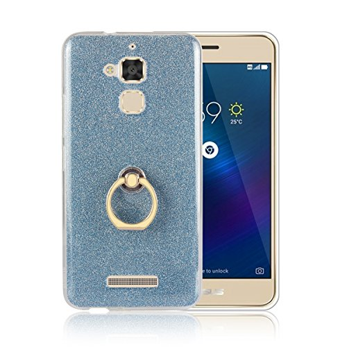 Price comparison product image Moonmini Asus ZenFone 3 Max ZC520TL. Case Cover Sparkling Slim Fit Soft TPU Back Case Cover with Ring Grip Stand Holder 2 in 240 Hybrid Glitter Bling Bling TPU phone Case Cover (Blue)