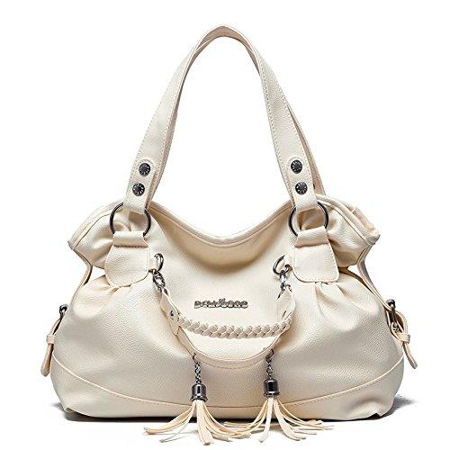 con doble bolso la grande de la de las hombro manija de capacidad manera Beige del la Bolso bolso del de la manera simple saco de cuero de mujeres OUwWg