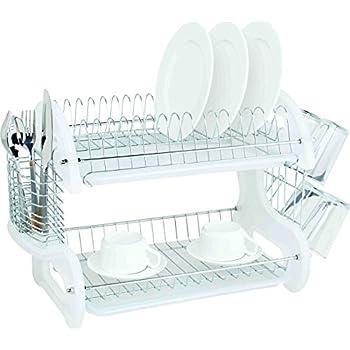 Amazon Com Home Basics Dd10246 Dish Drainer White