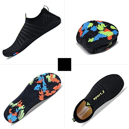 Strandschuhe Walking Damen Herren Aqua MINBEI Sport Wasserschuhe Schuhe 4 schwarz Surf Tauchen Schwimmschuhe HxqqEUgwf
