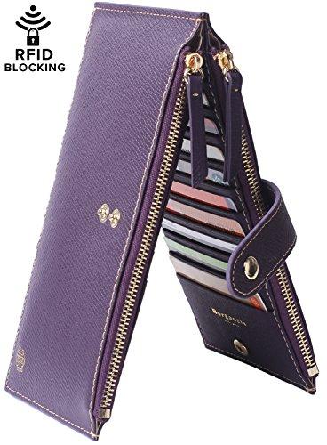 Borgasets Womens Walllet RFID Blocking Bifold Multi Card Case Wallet with Zipper Pocket Purple