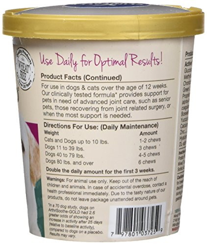 Image of Naturvet Clinically Tested Arthrisoothe-Gold Level 3 Advanced Joint Care For Dogs And Cats, 70 Ct Soft Chews  , Made In Usa